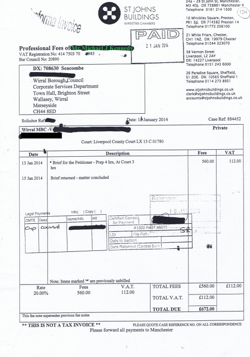 Wirral Council invoice Michael J Kennedy St Johns Buildings 15th January 2014 £672 134