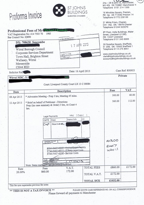 Wirral Council invoice Michael J Kennedy St Johns Buildings 16th April 2013 £1,032 20
