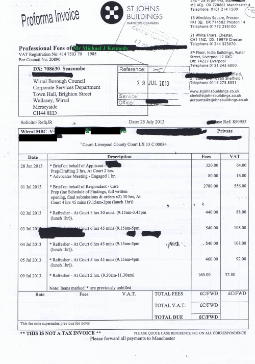 Wirral Council invoice Michael J Kennedy St Johns Buildings 25th July 2013 page 1 of 2 £7344 70