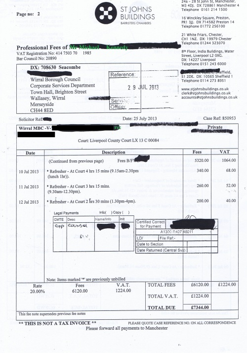 Wirral Council invoice Michael J Kennedy St Johns Buildings 25th July 2013 page 2 of 2 £7344 70