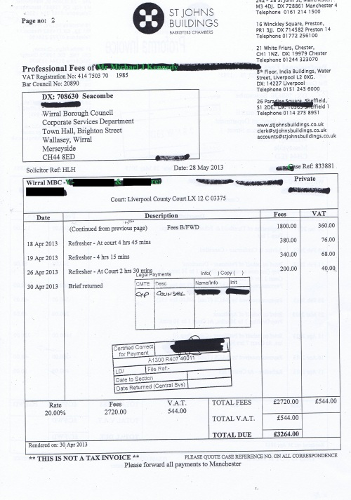 Wirral Council invoice Michael J Kennedy St Johns Buildings 28th May 2013 £3,264 Page 2 of 2 64