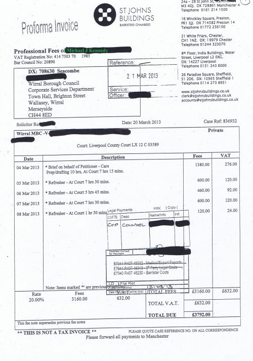 Wirral Council invoice Michael J Kennedy St Johns Buildings £3,792 20th March 2013 7