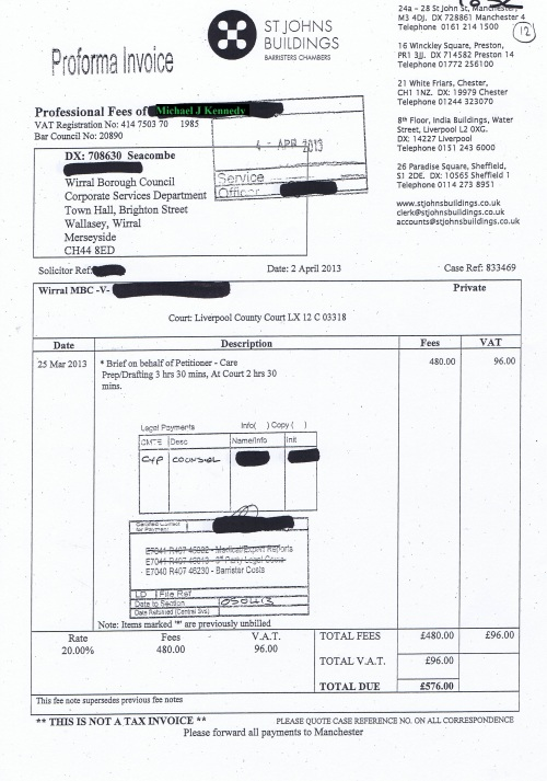 Wirral Council invoice Michael J Kennedy St Johns Buildings £576 2nd April 2013 12