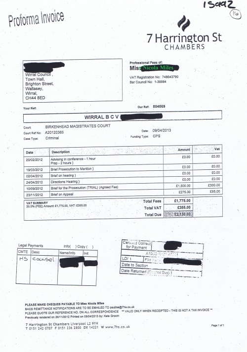 Wirral Council invoice Nicola Miles 7 Harrington St Chambers £2,130 9th April 2013 16