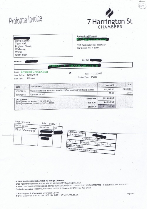 Wirral Council invoice Nigel Lawrence 7 Harrington Street Chambers 11th December 2013 £27185.90 129
