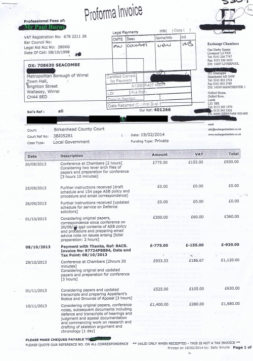 Wirral Council invoice Paul Burns Exchange Chambers 19th February 2014 Page 1 of 3 £1120 148