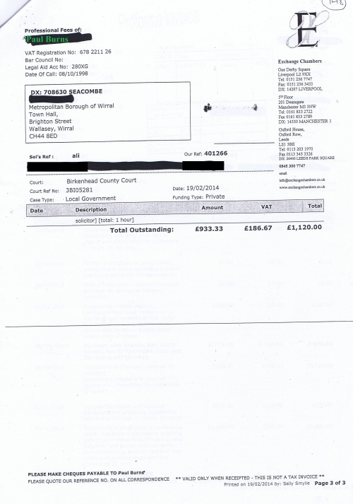 Wirral Council invoice Paul Burns Exchange Chambers 19th February 2014 Page 3 of 3 £1120 148