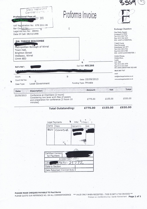 Wirral Council invoice Paul Burns Exchange Chambers 23rd September 2013 £930 93