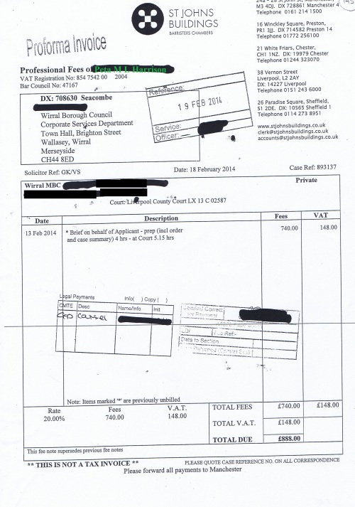 Wirral Council invoice Peta M L Harrison St Johns Buildings 18th February 2014 £888 145