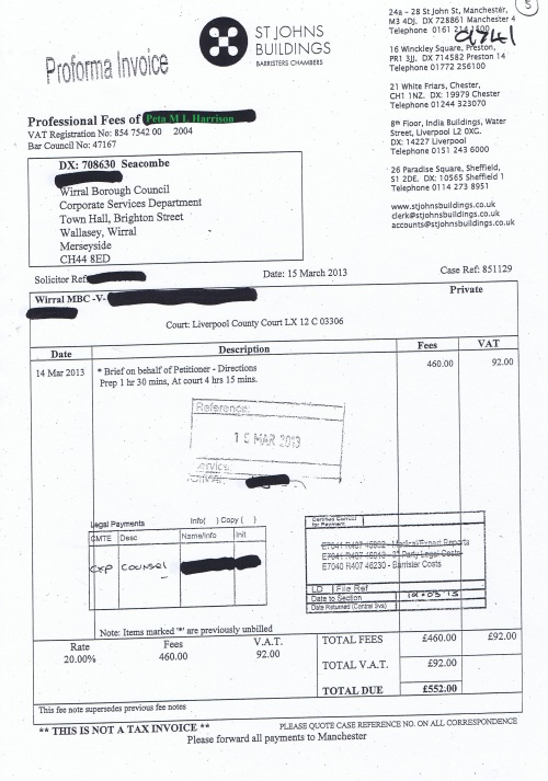 Wirral Council invoice Peta M L Harrison St Johns Buildings £552 15th March 2013 5