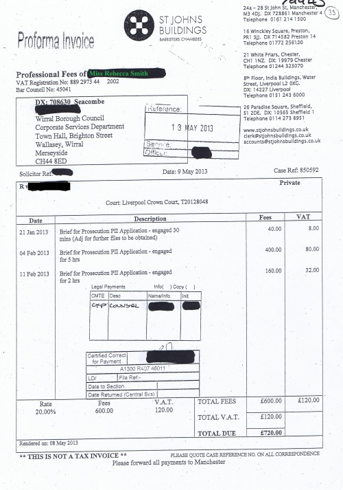 Wirral Council invoice Rebecca Smith St Johns Buildings 9th May 2013 £720 33