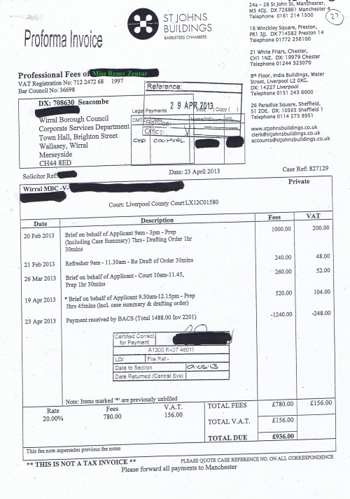 Wirral Council invoice Remy Zentar St Johns Buildings 23rd April 2013 £936 27