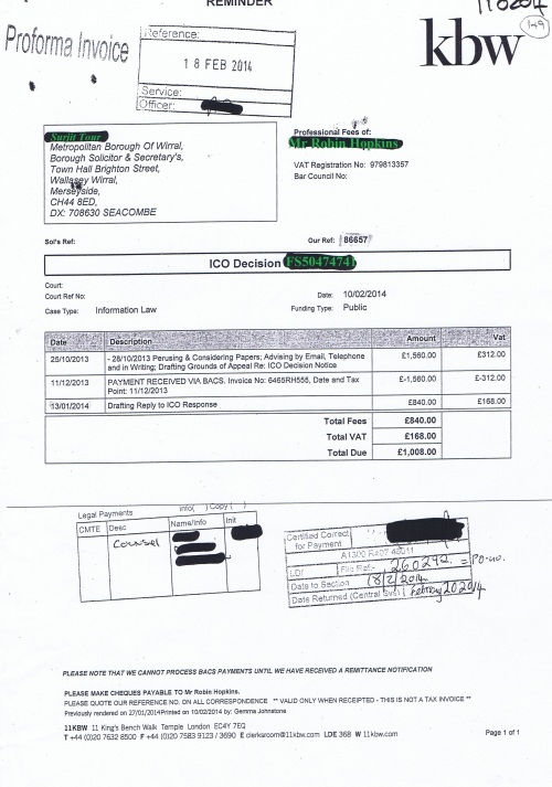 Wirral Council invoice Robin Hopkins KBW 10th February 2014 £1008 149