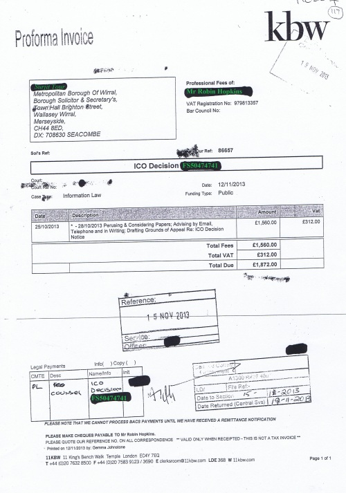 Wirral Council invoice Robin Hopkins kbw 12th November 2013 £1872 117