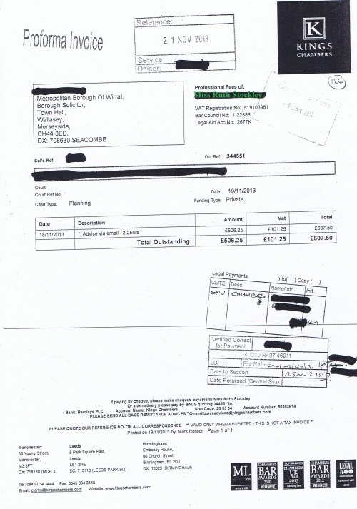 Wirral Council invoice Ruth Stockley Kings Chambers 19th November 2013 £607.50 126