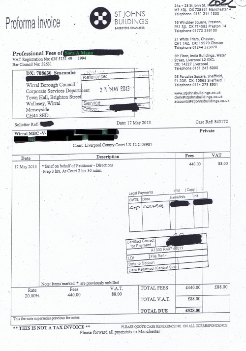 Wirral Council invoice Sara A Mann St Johns Building 17th May 2013 £528 41