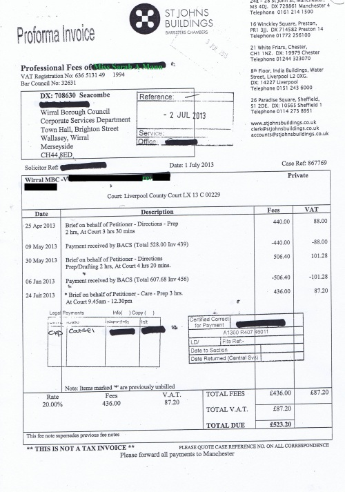 Wirral Council invoice Sara A Mann St Johns Buildings 1st July 2013 £523.20 61