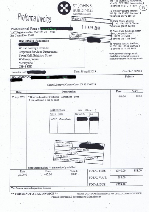 Wirral Council invoice Sara A Mann St Johns Buildings 26th April 2013 £528 25