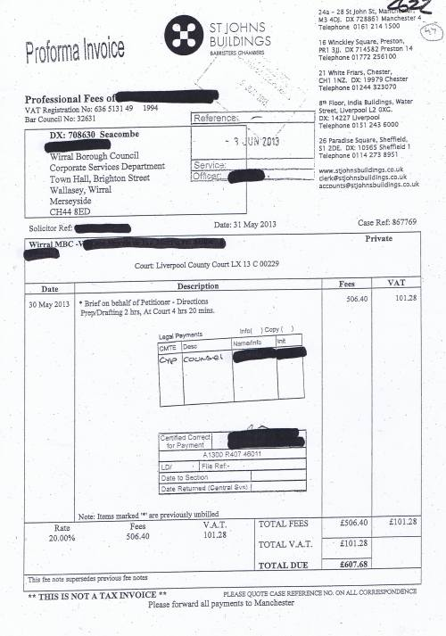 Wirral Council invoice Sara A Mann St Johns Buildings 31st May 2013 £607.48 47