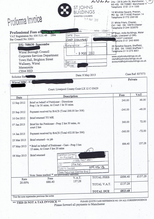 Wirral Council invoice Sara A Mann St Johns Buildings 8th May 2013 £823.68 30