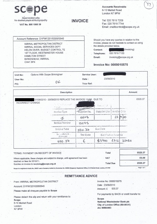 Wirral Council invoice Scope £520.37 4th March 2014 17