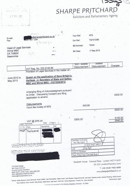 Wirral Council invoice Sharpe Pritchard 17th May 2013 £640 39