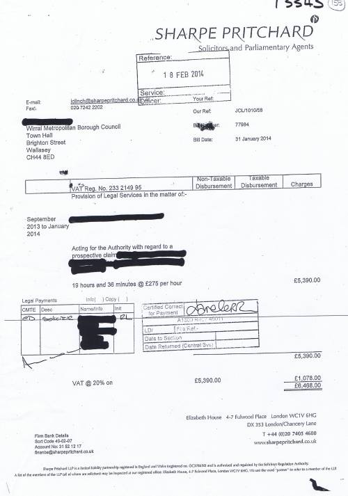Wirral Council invoice Sharpe Pritchard 31st January 2014 £6468 155