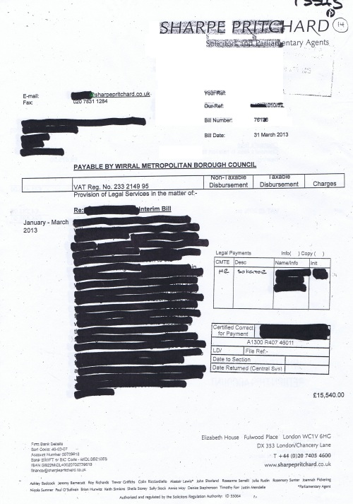 Wirral Council invoice Sharpe Pritchard £25,698 31st March 2013 Page 1 of 2 14
