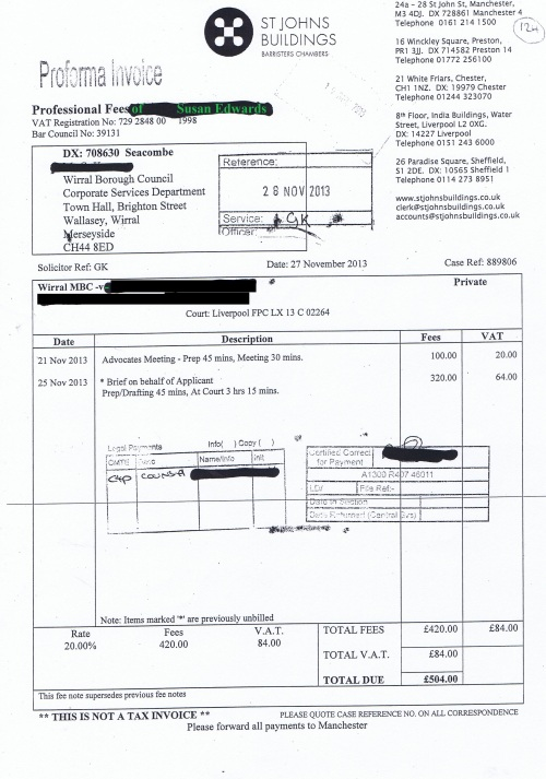 Wirral Council invoice Susan Edwards St Johns Buildings 27th November 2013 £504 124