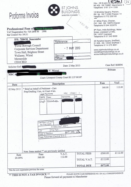 Wirral Council invoice Susan Edwards St Johns Buildings 2nd May 2013 £672 28