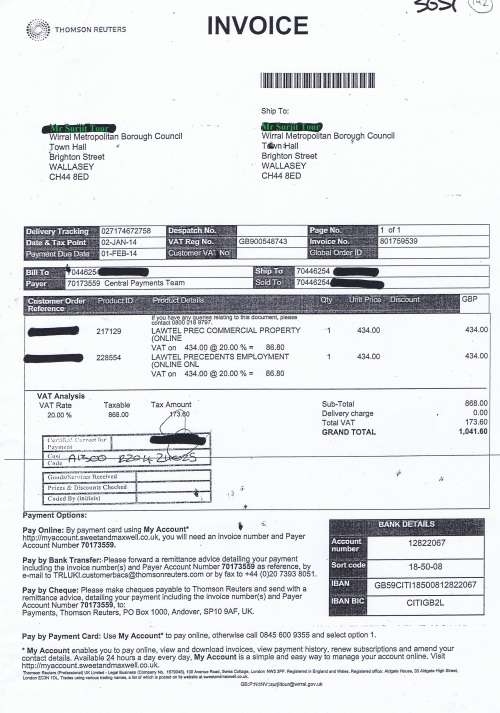 Wirral Council invoice Sweet & Maxwell Ltd 2nd January 2014 £1041.60 142