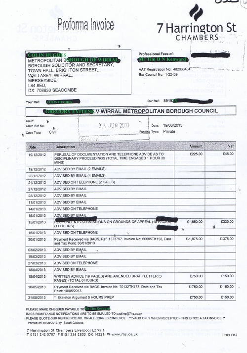 Wirral Council invoice Tim D N Kenward 7 Harrington St Chambers 19th June 2013 Page 1 of 2 £3,660 62
