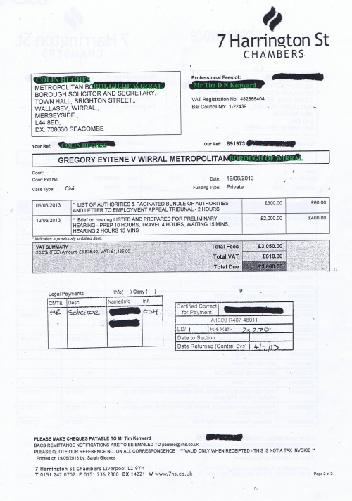 Wirral Council invoice Tim D N Kenward 7 Harrington St Chambers 19th June 2013 Page 2 of 2 £3,660 62