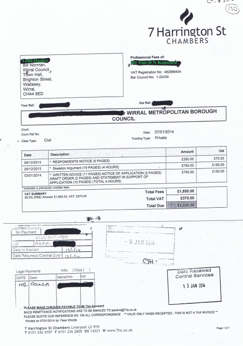 Wirral Council invoice Tim D N Kenward 7 Harrington Street Chambers 7th January 2014 £2220 130