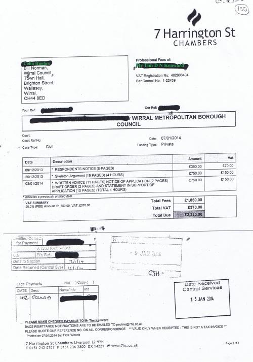 Wirral Council invoice Tim D N Kenward 7 Harrington Street Chambers 7th January 2014 £2220 130