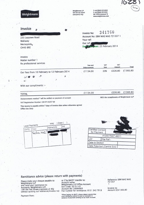 Wirral Council invoice Weightmans LLP 25th February 2014 £1360.80 146