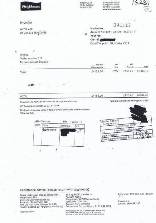 Wirral Council invoice Weightmans LLP 30th January 2014 £4982.40 151