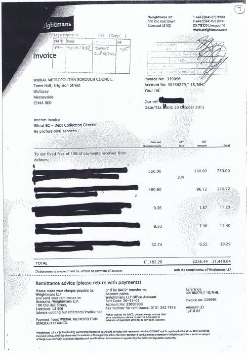 Wirral Council invoice Weightmans LLP Debt collection general £1418.64 30th October 2013 7
