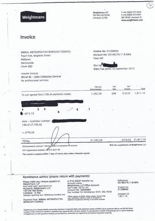 Wirral Council invoice Weightmans LLP Debt collection general £1911.30 30th September 2013 6