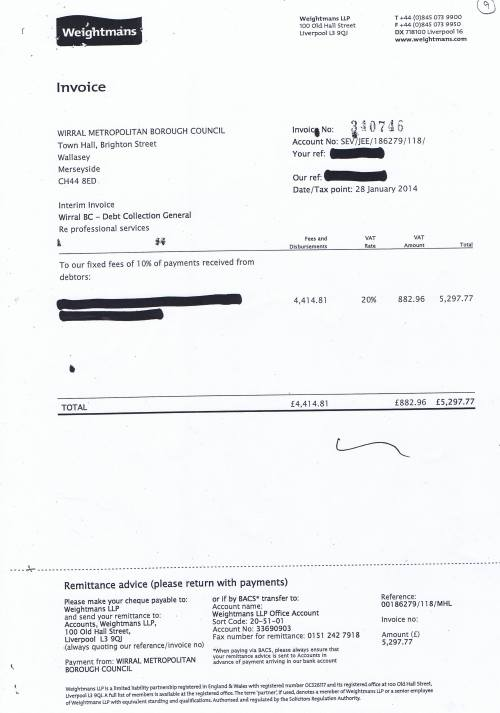 Wirral Council invoice Weightmans LLP Debt collection general £5297.77 28th January 2014 9