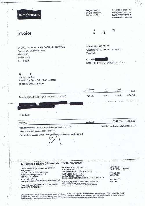Wirral Council invoice Weightmans LLP Debt collection general £864.30 27th September 2013