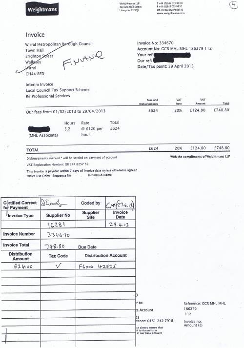 Wirral Council invoice Weightmans LLP Local Council Tax Support Scheme £748.80 29th April 2013