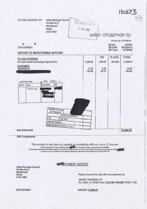Wirral Council invoice Wilkin Chapman LLP 16th October 2013 £1598.40 118