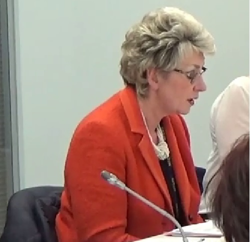 Cllr Lesley Rennie speaking at a public meeting of Merseyside Fire and Rescue Authority 29th January 2015 on a consultation on closure of Upton and West Kirby fire stations and a new fire station at Saughall Massie