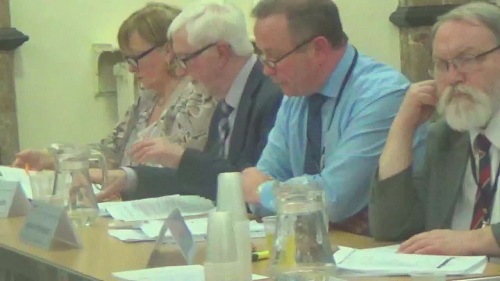 Cllr Pat Hackett talks at a Cabinet meeting about the master plan for Birkenhead Town Centre