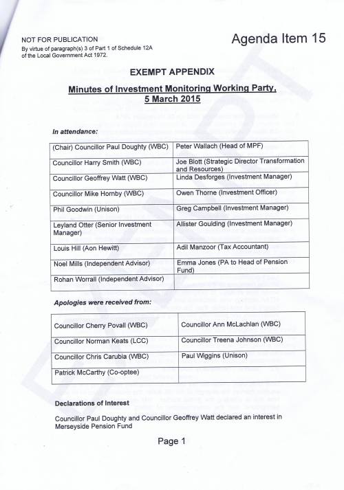 Investment Monitoring Working Party Minutes 5th March 2015 Page 1