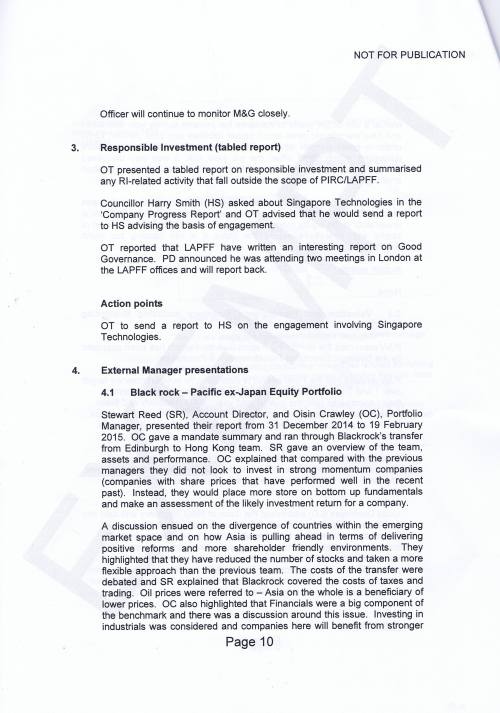Investment Monitoring Working Party Minutes 5th March 2015 Page 10