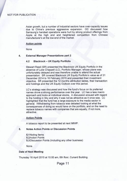 Investment Monitoring Working Party Minutes 5th March 2015 Page 11