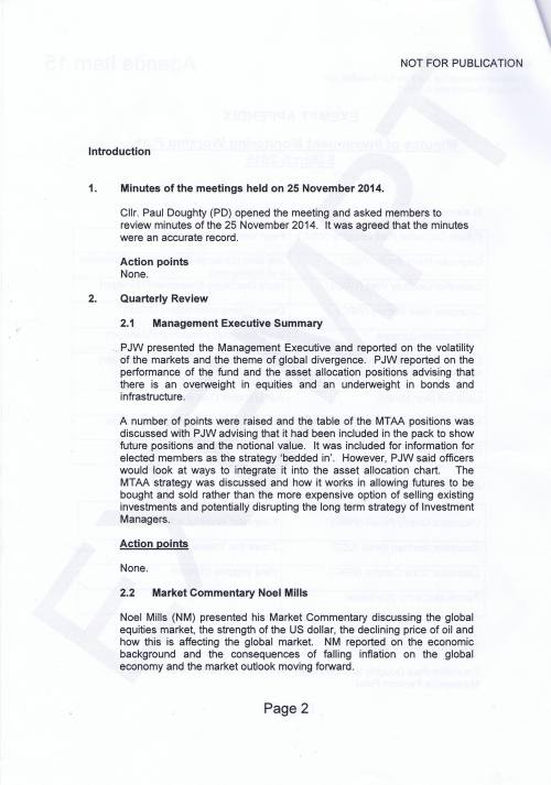 Investment Monitoring Working Party Minutes 5th March 2015 Page 2