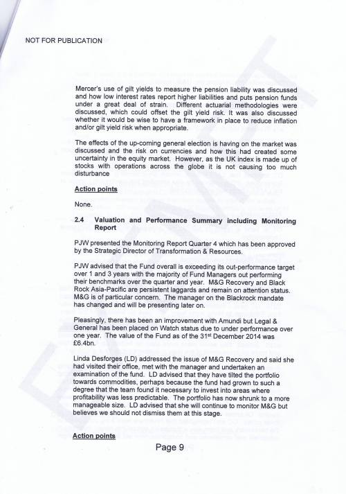 Investment Monitoring Working Party Minutes 5th March 2015 Page 9